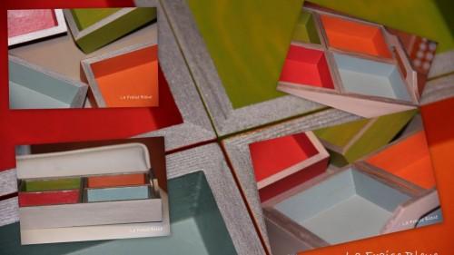 plateau, bois, couleurs gaies
